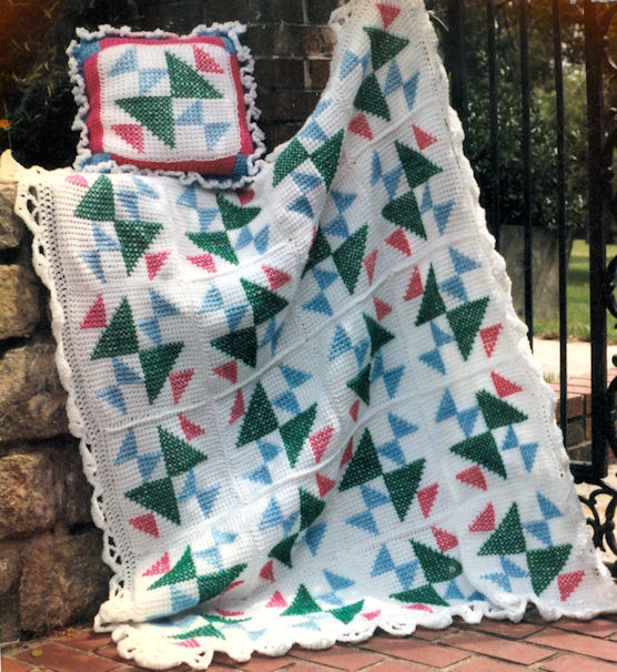 Crochet Cross Afghan Pattern Free : Old Maids Puzzle Afghan
